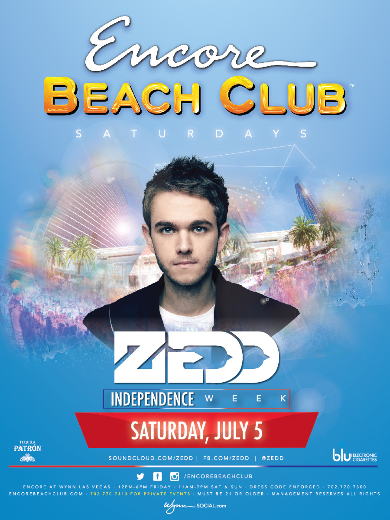 Zedd at Encore Beach Club Las Vegas July 5th Saturday