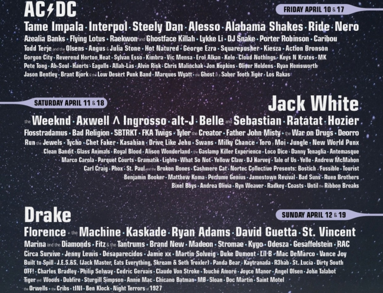 Coachella 2015 Lineup Announced Featuring Drake, The Weeknd, Kaskade, alt- J, Porter Robison, Kygo and More!